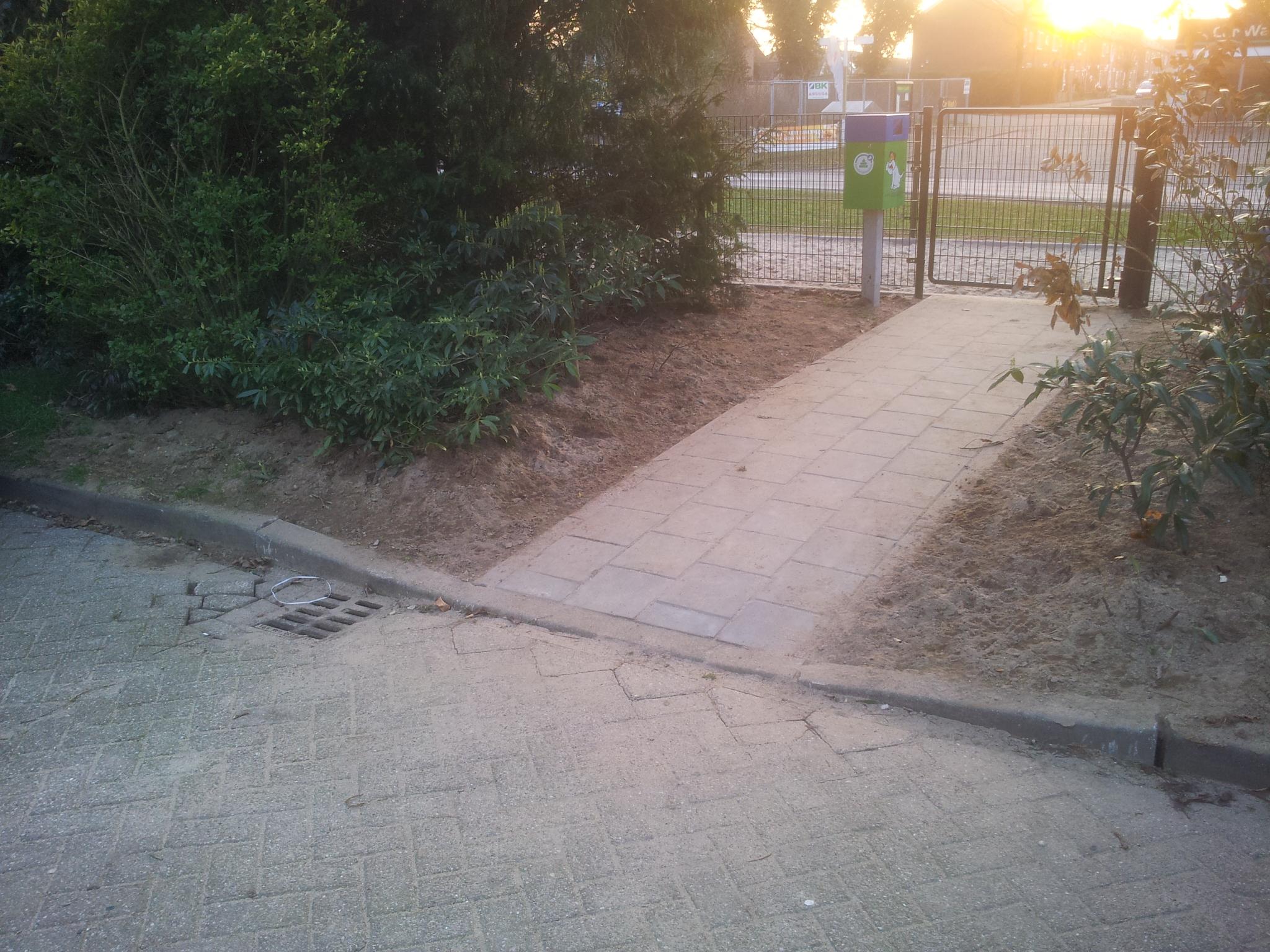 verlaagd trottoir bij Bergherveld
